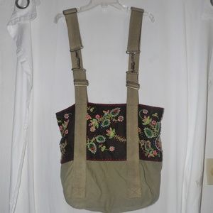 Free People Canvas and Embroidered Tote Bag